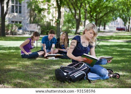 College students studying in college campus - stock photo