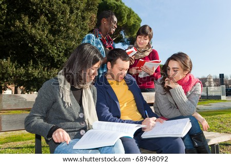 College Students Studying Together at Park - stock photo