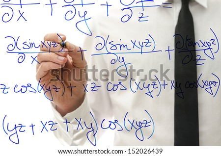 College teacher writing complicated mathematical equation on virtual whiteboard. - stock photo