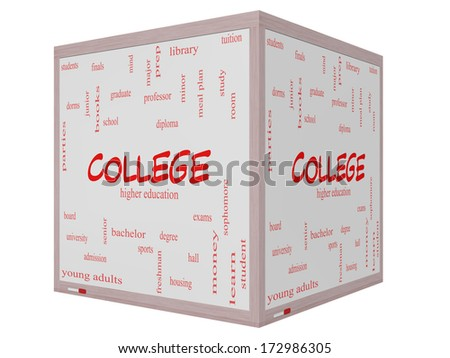 College Word Cloud Concept on a 3D cube Whiteboard with great terms such as tuition, study, student, major and more. - stock photo