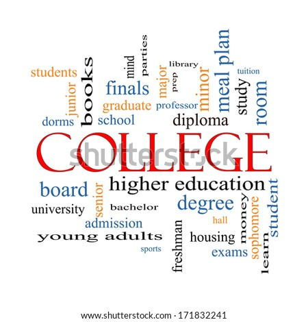 College Word Cloud Concept with great terms such as tuition, study, student, major and more. - stock photo