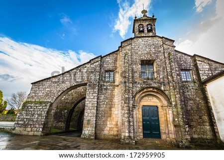 Collegiate of Santa Maria la Real del Sar in Santiago de Compostela. - stock photo