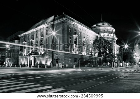 Collegium Maius in Poznan - the building between the streets: Fredry, Al. Niepodleglosci and Kosciuszki  - stock photo