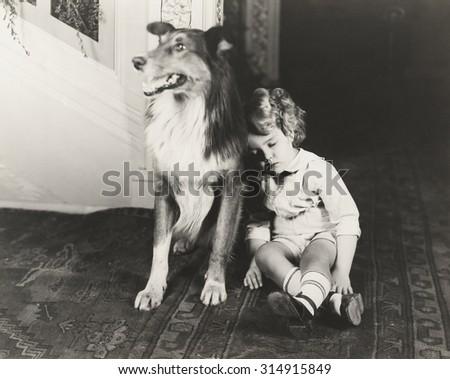 Collie guards sleeping child - stock photo