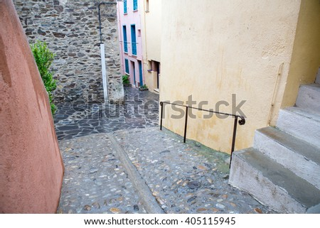 Collioure city and the small street in France  - stock photo
