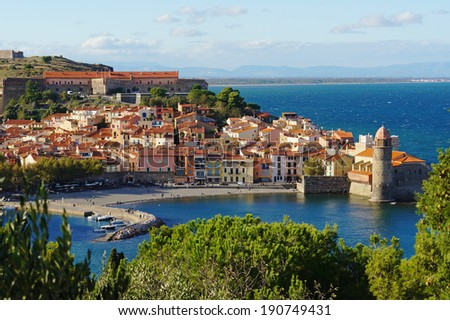 Collioure, coastal village in the south of France, Mediterranean sea, Languedoc Roussillon, Pyrenees Orientales - stock photo