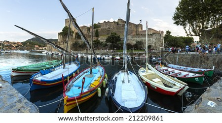 COLLIOURE, FRANCE - AUGUST 06: Collioure,  royal fortress and port panorama in south of France, Mediterranean sea, Languedoc Roussillon, Pyrenees Orientales on August 06, 2014 in Collioure, France   - stock photo