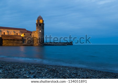 Collioure is a commune in the Pyrenees-Orientales department in southern France. It lies on the Mediterranean and was a part of the ancient Roussillon province. - stock photo