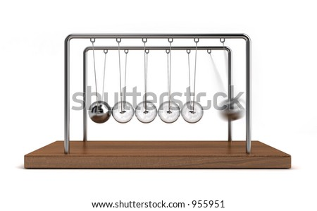 Collision balls concept. The balls at the middle are glass. - stock photo