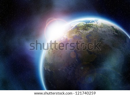 Collision of earth and smaller planet. Elements of this image furnished by NASA