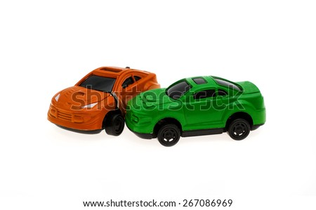collision of two cars isolated on the white - stock photo