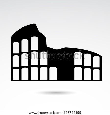 Colloseum icon isolated on white background.  - stock photo