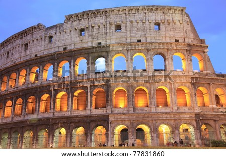 Collosseum at dusk, Rome, Italy - stock photo