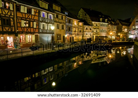 Colmar at night, France - stock photo