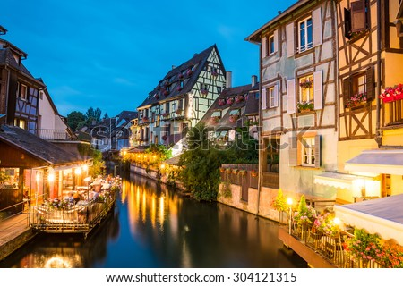 Colmar, Petit Venice, water canal and traditional colorful houses. Alsace, France. Long exposure.
