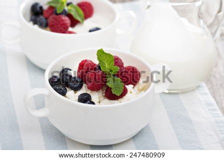 Colofrul healthy breakfast with cottage cheese and yogurt