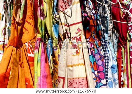 coloful dresses on a market in france