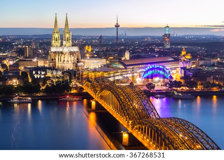 Cologne Cathedral aerial view, Cologne, Germany - stock photo