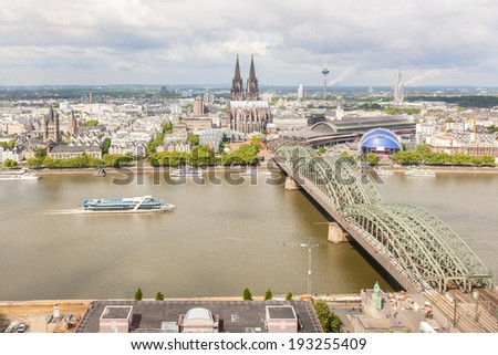 Cologne Cathedral and Famous Bridge, Aerial View - stock photo