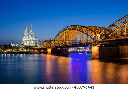 Cologne Cathedral and Hohenzollern Bridge, Cologne, Germany.