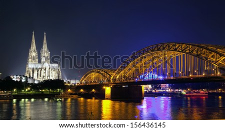 Cologne Cathedral and Hohenzollern Bridge, Cologne, North Rhine-Westphalia, Germany - stock photo