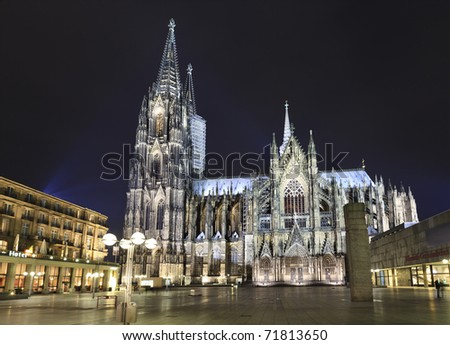 Cologne Cathedral at night, Germany - stock photo