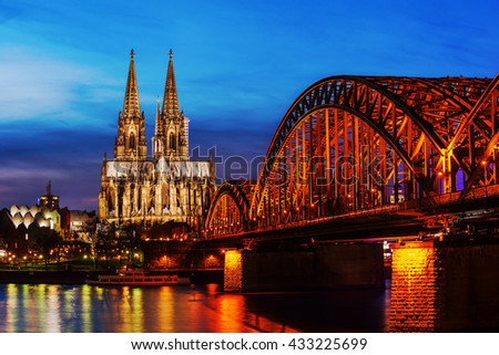 Cologne Cathedral in Cologne, Germany, at night - stock photo