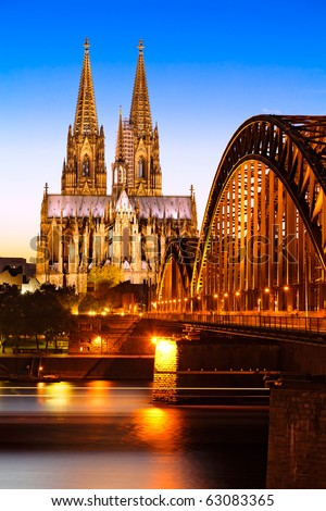 Cologne Cathedral in the evening - stock photo