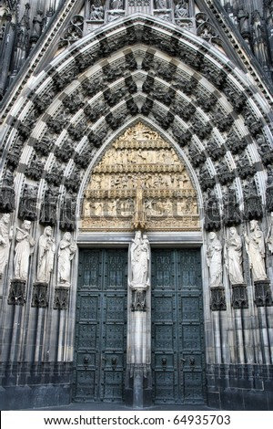 Cologne cathedral of Saint Peter and Mary door. Famous church. Seat of Archbishop. UNESCO World Heritage Site. - stock photo