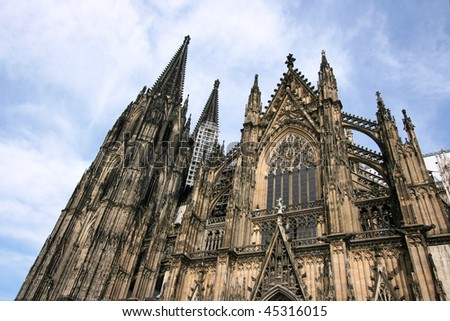 Cologne cathedral of Saint Peter and Mary exterior. Famous church in Germany. Seat of Archbishop. UNESCO World Heritage Site. - stock photo