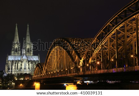 Cologne Cathedral,  Roman Catholic cathedral in Cologne, Germany, World Heritage in Cologne, Germany, Cologne Dom at night - stock photo