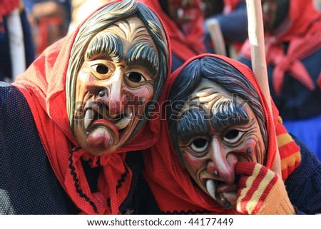 COLOGNE - CIRCA FEB 2008 : Participants in mask parade at the traditional carnival parade circa February 2008 in Cologne, Germany.