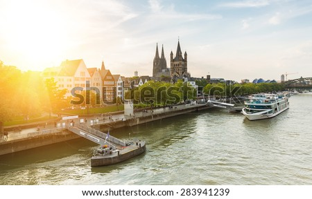 Cologne city at the rhine in summer at North Rhine-Westphalia Germany - stock photo