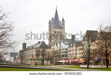 COLOGNE, GERMAN -  MARCH 5, 2016: Cologne is the largest city in the German. View to the church in Cologne, Germany on 5 March 2016.