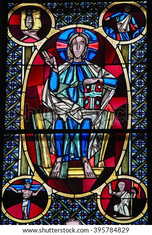COLOGNE, GERMANY - APRIL 21, 2010: Jesus Christ - Stained Glass in Dom of Cologne, Germany - stock photo