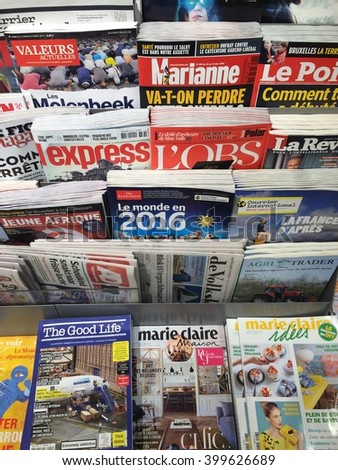 Cologne,Germany- April 1,2016: Popuar french magazines un a store in Cologne,Germany. - stock photo