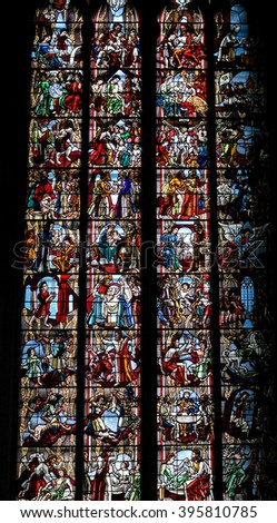 COLOGNE, GERMANY - APRIL 21, 2010: Scenes in the life of Jesus Christ, church window in Cologne Cathedral. - stock photo