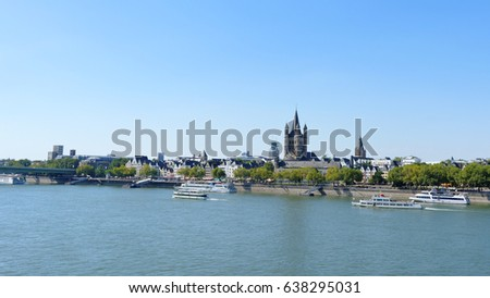 Cologne, Germany August 28, 2016: View of Rhine river in Cologne