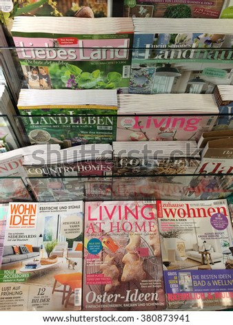 Cologne,Germany- February 23,2016: Popular german magazines on display in a store in Cologne,Germany.    - stock photo