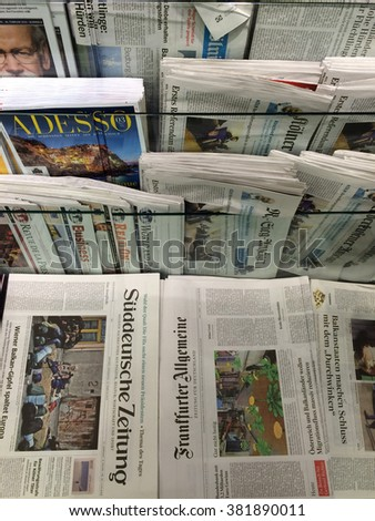 Cologne,Germany- February 25,2016: Popular german newspapers on display in a store in Cologne,Germany.  - stock photo