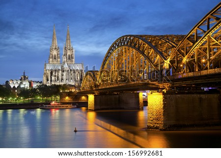Cologne, Germany. Image of Cologne with Cologne Cathedral and Hohenzollern bridge across the Rhine River.
