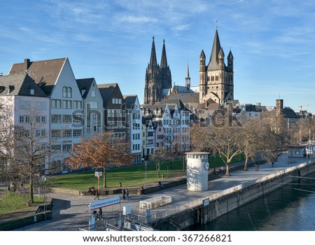 COLOGNE, GERMANY - JANUARY 25: Cologne Cathedral, Unesco World Heritage Site, and the old city of Cologne. JANUARY 25, 2015.