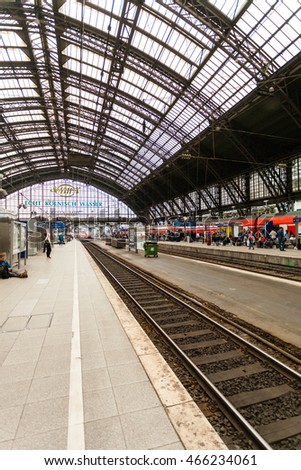 COLOGNE, GERMANY - JULY 10, 2014: Platform at the main railway station in Cologne, Germany