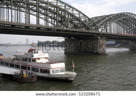 Cologne,Germany,-june 2016: The river Rhine is an important water way for the city of Cologne