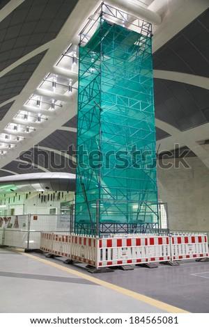 COLOGNE, GERMANY - MAR 27, 2014: First sublevel with building lot at Station Heumarkt in Cologne. The sub levels are combined through elevators and escalators. Architect is Ulrich Coersmeier.