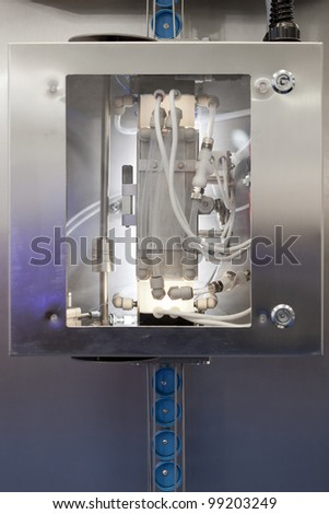 COLOGNE, GERMANY - MARCH 27 : New claranor pulsed light unit for close sterilization on display at the Loehrke booth at the ANUGA FoodTec industry trade show in Cologne, Germany on March 27, 2012. - stock photo