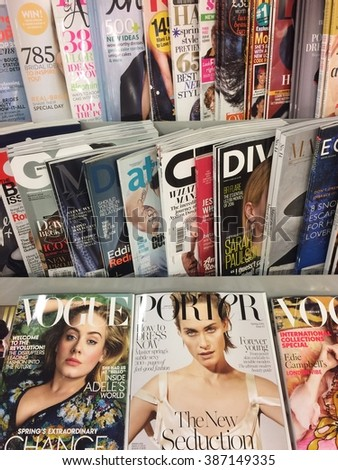 Cologne, Germany-March 7,2016: Popular british magazin on display in a store in Cologne, Germany - stock photo