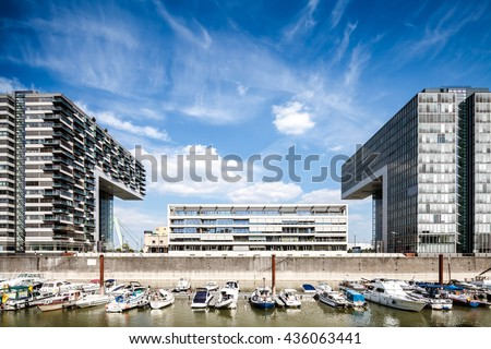 COLOGNE, GERMANY - MAY 28, 2015: Modern Kranhaus buildings in harbour of Cologne