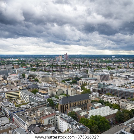 COLOGNE, GERMANY - SEP 17, 2015: Aerial view of Cologne from the viewpoint of Cologne Cathedral.