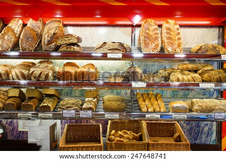 COLOGNE, GERMANY- SEP 18:  bakery interior on September 18, 2014. Cologne is Germany's fourth-largest city. Cologne is located on both sides of the Rhine River. - stock photo